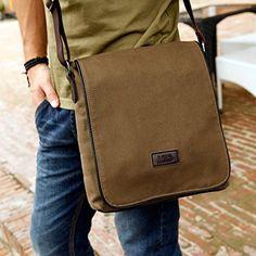 Eshow Herren Canvas Freizeit Retro Umhängetasche Schultertasche Handtasche Tasche DIN A4 / IPAD geeign, Braun: Amazon.de: Koffer, Rucksäcke & Taschen