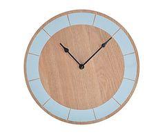 Reloj de pared en madera, azul - Ø30 cm