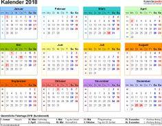 Vorlage 7: Kalender 2018 als PDF-Datei, Querformat, 1 Seite, in Farbe