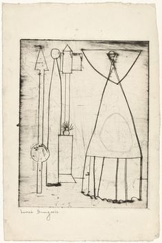 Louise Bourgeois. Famille (Family), state I. (c. 1948)  Engraving with pencil additions