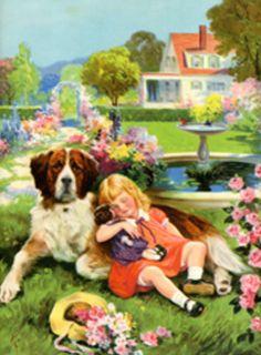 PET~GIRL/&SAINT BERNARD DOG~RARE ORIGINAL 1920s SAN DIMAS LEMON FRUIT CRATE LABEL