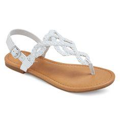 Girls' Liddie Braided Slide Sandals Cat & Jack - White 13