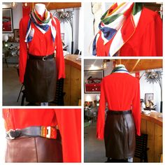 Beautiful vintage set made of : - a brown leather Thierry Mugler mini skirt from the 1980s (French Size 38) - a red Celine blouse from the 1970s (French Size 38) - a Yves Saint Laurent scarf from the 80s - a Hermes blue leather belt with gold plated decor from 70s  Pretty set isn't? Interested? Contatct us: sales@design-only.com