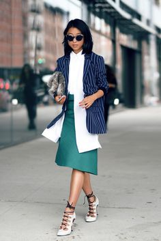 Margaret Zhang shinebythree.com | Tibi Pinstripe Blazer Dion Lee Shirt Jil Sander Sabbia Open Weave Wool Skirt Elizabeth and James Bag Illesteva Claire Cat-Eye Sunglasses Mode Collective Heels