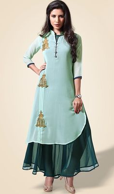 Glow like star wearing this green color shaded georgette designer tunic. The wonderful kurti creates a dramatic canvas with amazing patch and resham work.