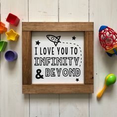 I love you to Infinity and Beyond Wooden Sign / Rustic Sayings / Bedroom Decor / Nursery Decor / Playroom Decor / Christmas Gift Baby Shower - Zoé Edwards - Beyond Binary Disney Playroom, Disney Nursery, Playroom Decor, Nursery Decor, Bedroom Decor, Bedroom Ideas, Kid Decor, Playroom Ideas, Kids Bedroom