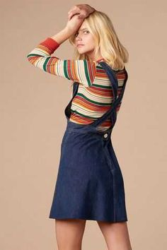 Retro Fashion High School Lover Overall Dress - 70s Outfits, Outfits For Teens, Vintage Outfits, Cute Outfits, Fashion Outfits, Fashion Ideas, Retro Fashion 70s, 70s Inspired Fashion, Vintage Fashion