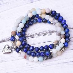 Amazonite Lapis Lazuli Locket 108 Mala - Paybackgift Lapis Lazuli, Beaded Bracelets, Stone, Jewelry, Products, Rock, Jewlery, Bijoux, Pearl Bracelets