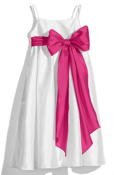 Us Angels White Sleeveless Empire Waist Taffeta Dress (Toddler, Little Girls & Big Girls) available at #Nordstrom