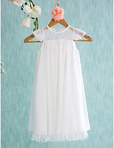Lanting Bride® Trapèze Courte / Mini Robe de Demoiselle d'Honneur Fille - Mousseline de soie Sans Manches Bijoux avec