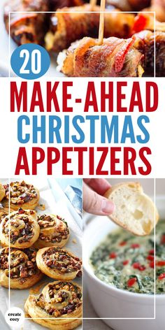 Yummy Christmas appetizer ideas and recipes for the holidays with snacks treats dips pigs in blankets pinwheels cheeseballs Christmas crostini and more in time saving and make ahead recipes that will also save on grocery bills and shopping! Make Ahead Christmas Appetizers, Christmas Party Food, Christmas Brunch, Xmas Food, Thanksgiving Appetizers, Christmas Cooking, Christmas Treats, Christmas Holidays, Easy Make Ahead Appetizers