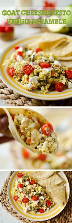Goat Cheese & Pesto Veggie Scramble