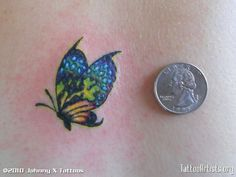 Coin for Measure, Small Butterfly Tattoo - Pintgrams Girly Tattoos, Star Tattoos, Pretty Tattoos, Foot Tattoos, Cute Tattoos, Beautiful Tattoos, Body Art Tattoos, Tatoos, Ankle Tattoos
