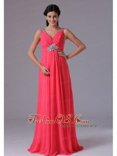 Coral Red V-neck Beading and Ruch Plus Size Prom Dress With Floor-length In Norwalk Connecticut- http://www.fashionos.com  beaded prom dress | v neck prom dress | coral red prom dress | sleeveless prom dress with straps | ruched prom dress plus size | low price graduation dress under 150 | inexpensive wholesale party dresses | elegant business casual club celebrity dress | chiffon prom dress in coral red | coral red chiffon prom dress floor length |
