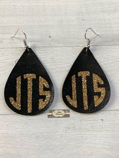 Monogram Leather Glitter Earrings, Monogrammed Teardrop Earrings, Mother's Day