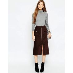 ASOS Chunky Cord Zip Front Midi Skirt (25 BAM) ❤ liked on Polyvore featuring skirts, brown, high waist skirt, high waisted midi skirt, calf length skirts, white knee length skirt and brown corduroy skirt