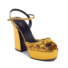 9973c2d196a Gucci Women s Leather Knotted Leather Platform Sandals Gold Gucci  Accessories