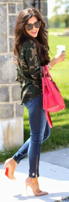 Shop this look on Lookastic: https://lookastic.com/women/looks/dress-shirt-skinny-jeans-pumps-tote-bag-sunglasses/13060 — Brown Leopard Sunglasses — Olive Camouflage Dress Shirt — Hot Pink Leather Tote Bag — Blue Skinny Jeans — Beige Leather Pumps