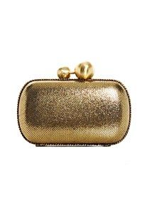 Diane Von Furstenberg Metallic Leather Clutch    A classic pillbox clutch in a glimmering gold.  A perfect upgrade to a party frock.    Theme- Haute Mama Dinner Party