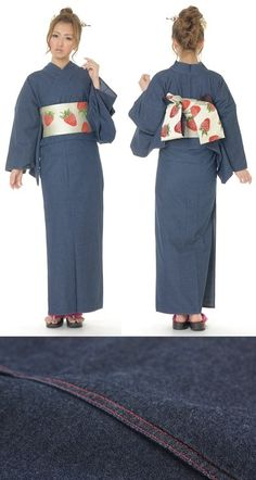 Denim yukata and kimono are not a new idea but I thought denim would be a really hot textile to wear in the sun. With the silvery strawberry obi it has a soft, classic homey look, but wouldn't it be a little heavy? And why does this model look so bemused? Cotton, 9980 yen
