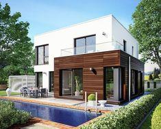 Evolution 143 V11 - Bien Zenker. Das Einfamilienhaus Evolution 143 V11 beeindruckt durch seine moderne Architektur mit Flachdach. Von außen fällt sofort der Kontrast zwischen der schlichte