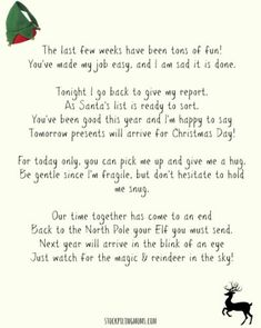 Elf On A Shelf Goodbye Letter