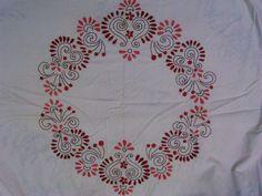 Herringbone stitch and back stitch work on a bedsheet
