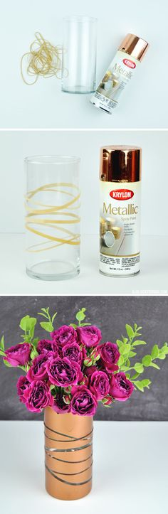 DIY Metallic Vase | copper spray paint rubber bands | Vicky Barone