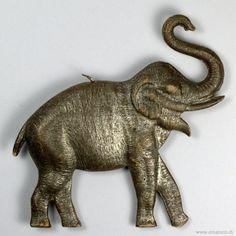 Dresden molded cardboard elephant ornament ca.1900