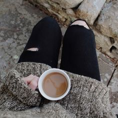 """this-harvestmoon: """" This very chilly morning upstate has me in a chunky sweater, jeans, and an October state of mind. Fall, hurry along now ↣ { """" Autumn Day, Autumn Leaves, Fall Winter, Fallen Leaves, Ashley Brown, Wild Photography, Mabon, Coffee Cozy, Coffee Time"""
