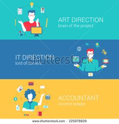 Top manager professions concept flat web banners template set art direction it director chief accountant vector illustration website infographics elements. Process collection people professionals flat