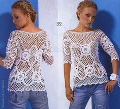 Crochetemoda: Crochet - Blusa Branca Manga longa