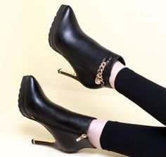 Women'S Chain Pointed Toe Pu Clubwear Stilettos Ankle Boots High Heel Shoes