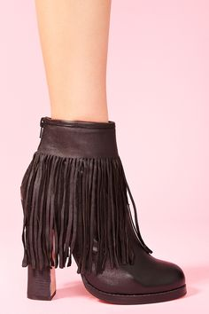 Black Leather Fringe Boots.