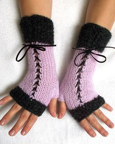Knit Fingerless Corset Gloves Women Wrist Warmers in Dark Grey and Light Violet Lilac Fingerless Mittens, Wrist Warmers, Knitting Accessories, Victorian Fashion, Aesthetic Clothes, Diy Clothes, Dark Grey, Corset, Cute Outfits