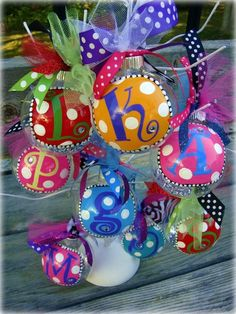 Sharpie paint pens + ornaments + ribbon. by lynne