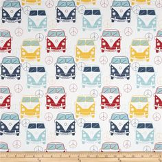 Premier Prints Love Bus Premier Navy from @fabricdotcom  Screen printed on cotton duck; this versatile medium weight fabric is perfect for window accents (draperies, valances, curtains and swags), accent pillows, duvet covers and upholstery. Create handbags, tote bags, aprons and more. *Use cold water and mild detergent (Woolite). Drying is NOT recommended - Air Dry Only - Do not Dry Clean. Colors include aqua, yellow, red, navy and white.