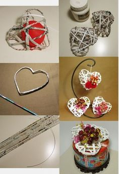 Arts And Crafts Product Recycled Paper Crafts, Newspaper Crafts, Diy Home Crafts, Crafts For Kids, Arts And Crafts, Valentine Day Crafts, Christmas Crafts, Diy Para A Casa, Diy Y Manualidades