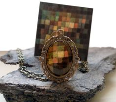 "#ArtPassionBijoux by Sara, #italian #handmade #jewelry inspired by #art - #Klee's painting ""Ancient Sound, #Abstract on Black"" medallion, bronze tone #necklace"
