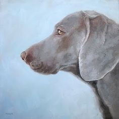 "Daily Paintworks - ""Weimaraner"" by Michael Naples 12*12"