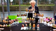 Dutch artist Tiety Entjes-Weij's handpainted goose and swan eggs, portraits of the royal family, mainly the Dutch. She spends 6 weeks to paint one egg!