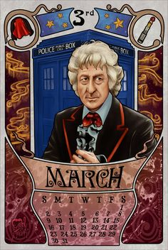 March month for the doctor who 2014 calendar with Jon Pertwee as the doctor.  3rd Doctor by boop-boop.deviantart.com on @deviantART