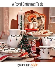 This sweet holiday table features Christmas tableware from Europe's beloved Royal Copenhagen.