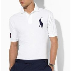 Ralph Lauren Men's White Navy Big Pony Polo  http://www.ralph-laurenoutlet.com/