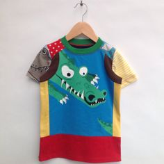 Size 4T/5T upcycled Boys Tshirt crocodile by dressme on Etsy, $40.00