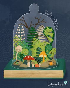 Prendre soin - cloche de verre d'art terrarium par KatherineLenius sur Etsy https://www.etsy.com/fr/listing/231001728/prendre-soin-cloche-de-verre-dart