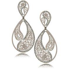 LK DESIGNS Ying Yang Dark Silver Earrings ($140) found on Polyvore