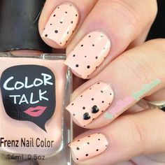 Beige nails. Polka dots. Nail art. Nail design. Polishes. Polish. Polished. by la_paillette_frondeus