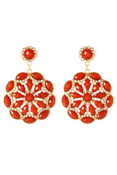 Amrita Singh Eastern Peony Earrings in Coral