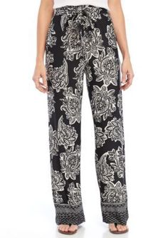 New Directions Women's Floral Border Print Pants - Black Island - Xl